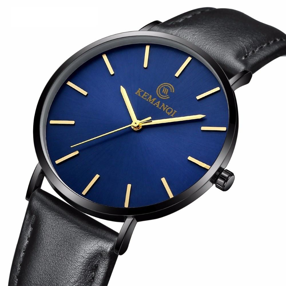 Мужские часы Kemanqi ультратонкие - Черный/синий