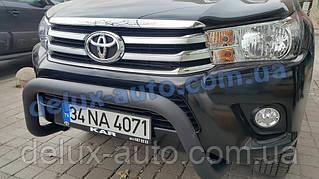 Защита переднего бампера кенгурятник передний низкий черный матовый на Toyota Hilux 2019+ дуга передняя