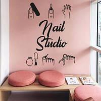 Интерьерная наклейка в салон Nail studio (стикеры маникюр педикюр ногти для кабинета) матовая 700х980 мм