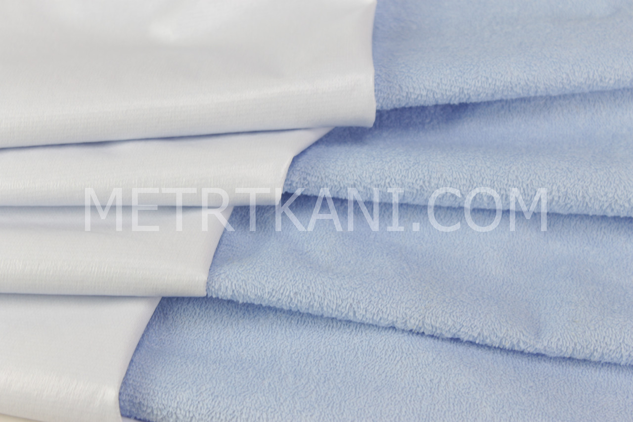 Непромокаемая ткань для наматрасника ,махровая ткань, голубого цвета 180г/м/2 № МНП-4
