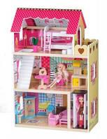 Большой кукольный деревянный домик, дом для кукол + 2 кукли в подарок