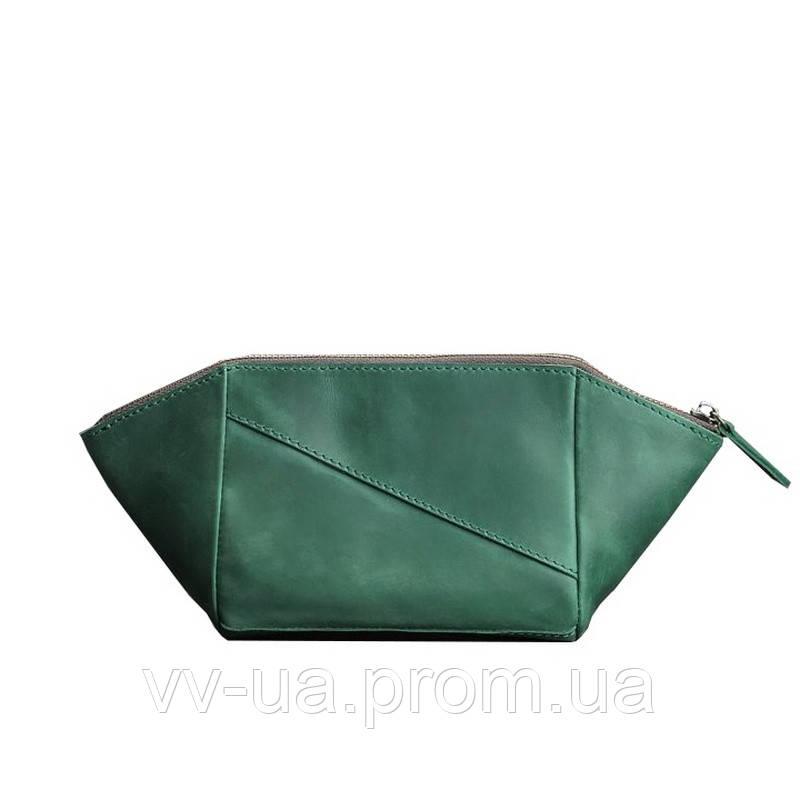 Женская косметичка BlankNote изумруд, зеленая (BN-CB-2-iz), кожа