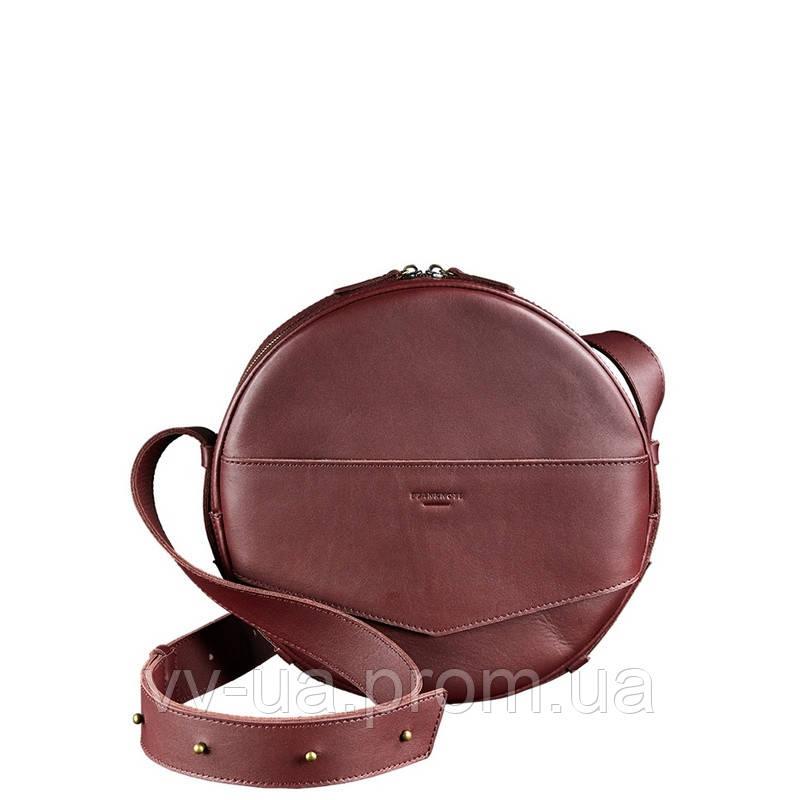 Круглая сумка-рюкзак BlankNote maxi Виноград, бордовая (BN-BAG-30-vin), кожа