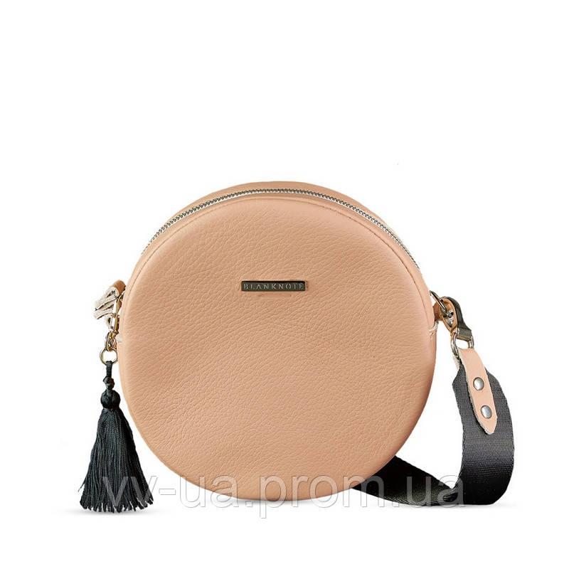 Круглая сумочка BlankNote Tablet крем-брюле, бежевая (BN-BAG-23-crem-brule), кожа