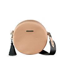 Круглая сумочка BlankNote Tablet крем-брюле, бежевая (BN-BAG-23-crem-brule), кожа, фото 1