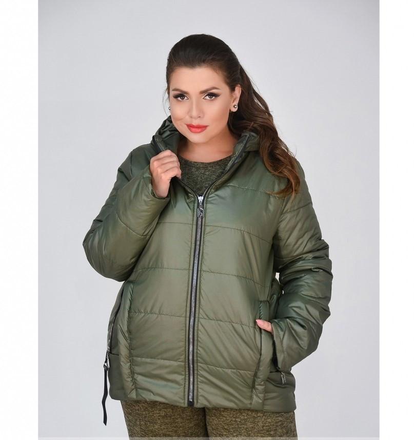 Куртка до бедра, с капюшоном №17-154-хаки