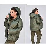 Куртка до бедра, с капюшоном №17-154-хаки, фото 3