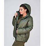 Куртка до бедра, с капюшоном №17-154-хаки, фото 4