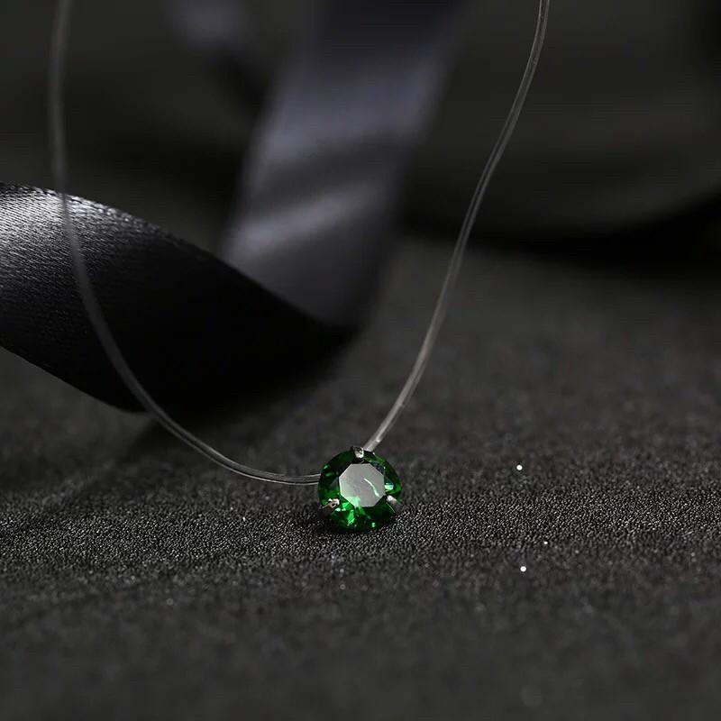 Украшение для шеи камушек на леске (зеленый) стильный