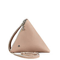 Сумка-косметичка BlankNote пирамида, крем-брюле, бежевая (BN-BAG-25-crem-brule), кожа