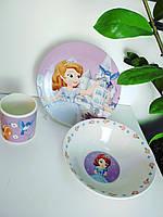 Детский набор посуды из керамики для девочек София Прекрасная 3 предмета