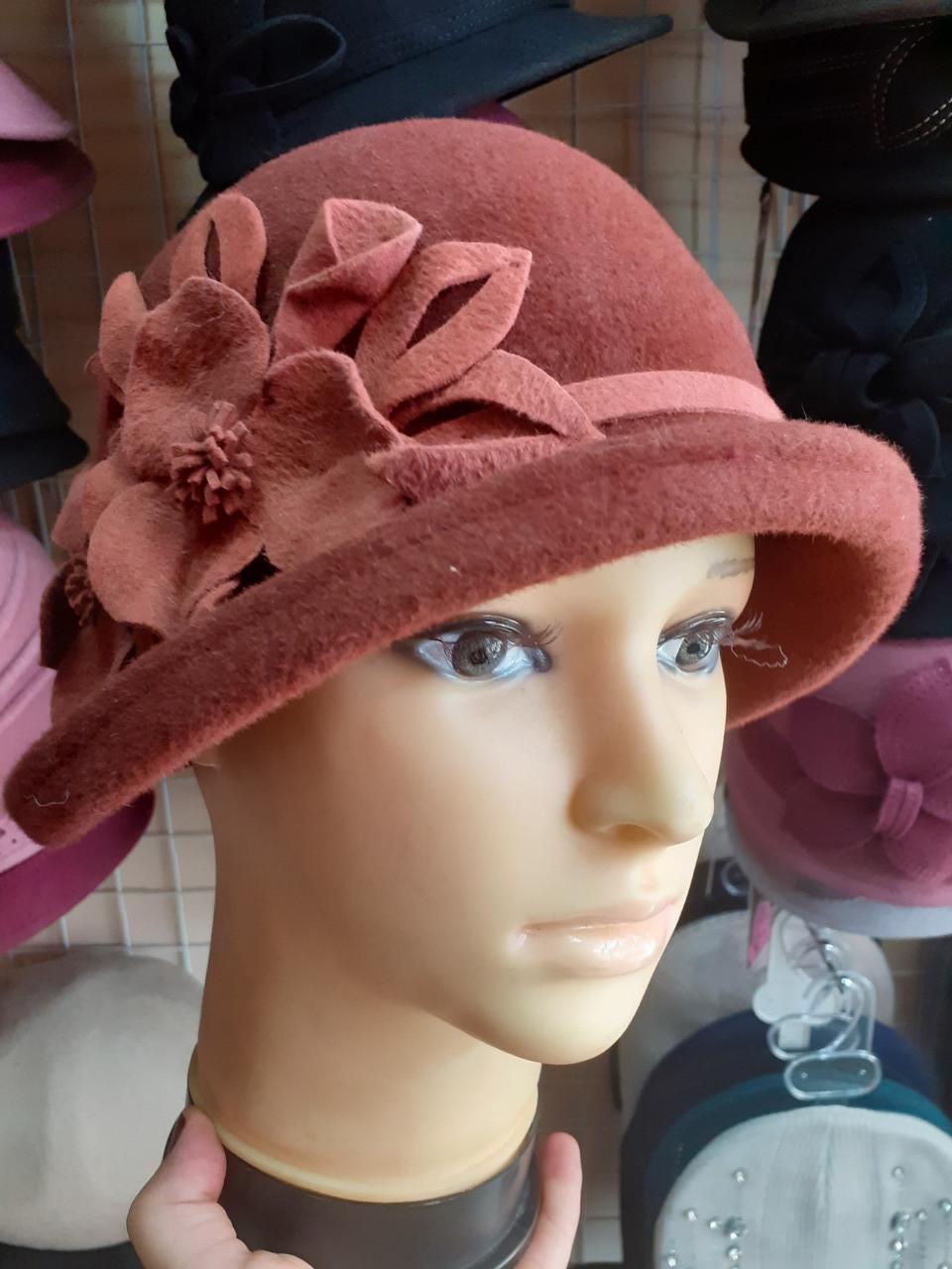 286-1 Женская фетровая шляпа Хелен Лайн терракот