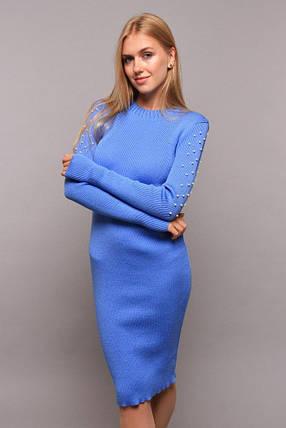 Приталенное платье миди с длинным рукавом украшенным бусами цвет голубой, фото 2
