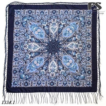 Павлопосадский тёмно-синий платок Южанка, фото 2