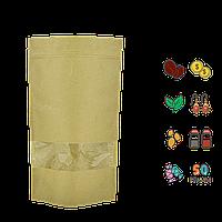 Упаковка для кофе/чая 50г 100х170х30мм (крафт, zip-замок с окошком) (уп/10шт)