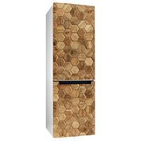 Виниловая наклейка на холодильник Деревянная мозаика (пленка самоклеющаяся интерьерная под дерево соты)