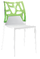 Стул Papatya Ego-Rock белое сиденье, верх прозрачно-зеленый