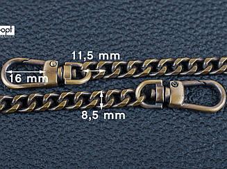 Цепочка (ручка) для сумки клатча с карабином 65-019 антик, 120 см