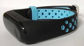 Силиконовый ремешок для Xiaomi Mi Band 3/4 Black-Blue Nike, фото 3