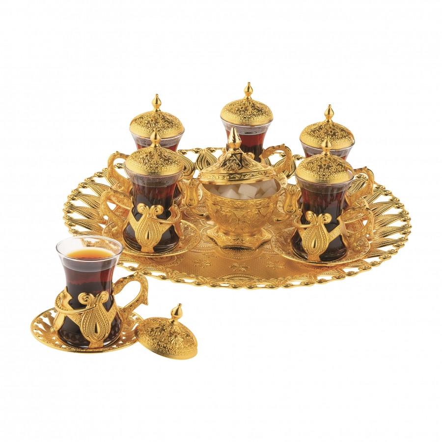Набор чайных стаканов Sena Kusakli золотистый на 6 персон