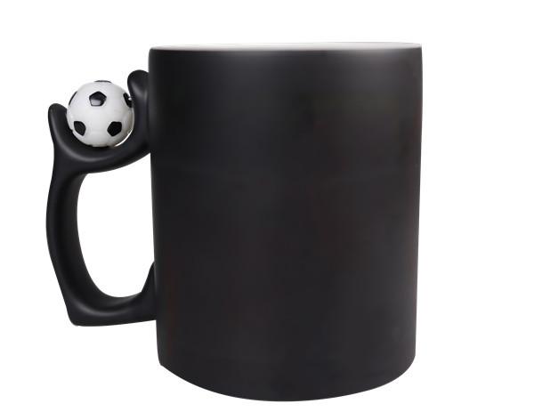 Чашка для сублимации хамелеон с футбольным мячом 330 мл (черный)