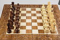 Yабор настольных игор 3 в 1, шахматы+шашки+нарды, ручная резьба, фото 1