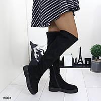 Женские замшевые демисезонные сапоги на низком каблуке, фото 1