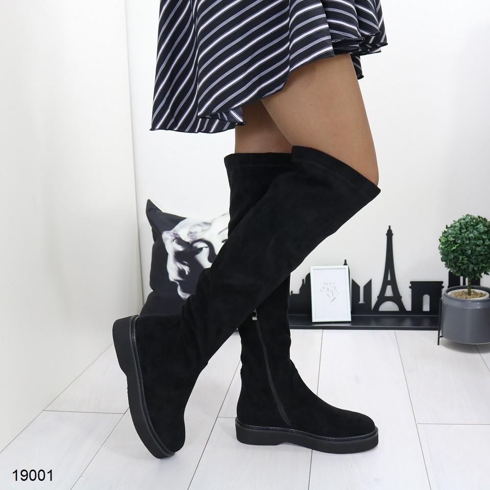 Женские замшевые демисезонные сапоги на низком каблуке