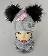 М 5096 Комплект для девочки с люрексом шапка+хомут,кашемир,флис, фото 1