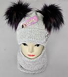 М 5096 Комплект для дівчинки з люрексом шапка+хомут,кашемір,фліс, фото 2