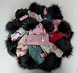 М 5096 Комплект для дівчинки з люрексом шапка+хомут,кашемір,фліс, фото 5