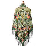 Кружевной 951-10, павлопосадский платок (шаль, крепдешин) шелковый с шелковой бахромой, фото 2