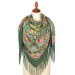 Кружевной 951-10, павлопосадский платок (шаль, крепдешин) шелковый с шелковой бахромой, фото 3