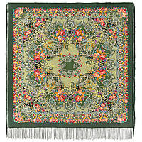 Кружевной 951-17, павлопосадский платок (шаль, крепдешин) шелковый с шелковой бахромой, фото 1