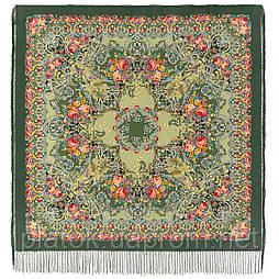 Кружевной 951-10, павлопосадский платок (шаль, крепдешин) шелковый с шелковой бахромой