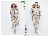 """Женский дутый зимний комбинезон больших размеров """" Gold """" Dress Code"""