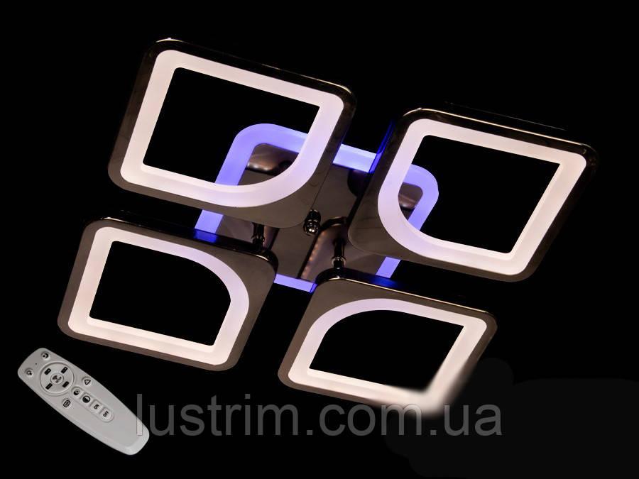 Светодиодная  LED люстра с диммером и подсветкой, цвет чёрный хром, 80W