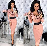 Женское облегающее платье из трикотажа - рубчик