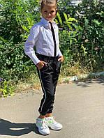 Детские модные брючки - джоггеры для девочки из костюмной ткани на рост от 128 по 152 см, фото 1