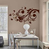 Интерьерная декоративная наклейка Узор из лилий (виниловая самоклеющаяся пленка, роспись стен, тюльпан) матовая, 840х1500 мм