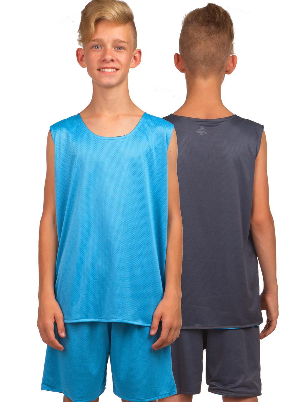 Форма баскетбольная детская-подростковая BasketBall Uniform серо-голубой (LD-8300T)