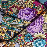 Кружевной 951-13, павлопосадский платок (шаль, крепдешин) шелковый с шелковой бахромой, фото 5
