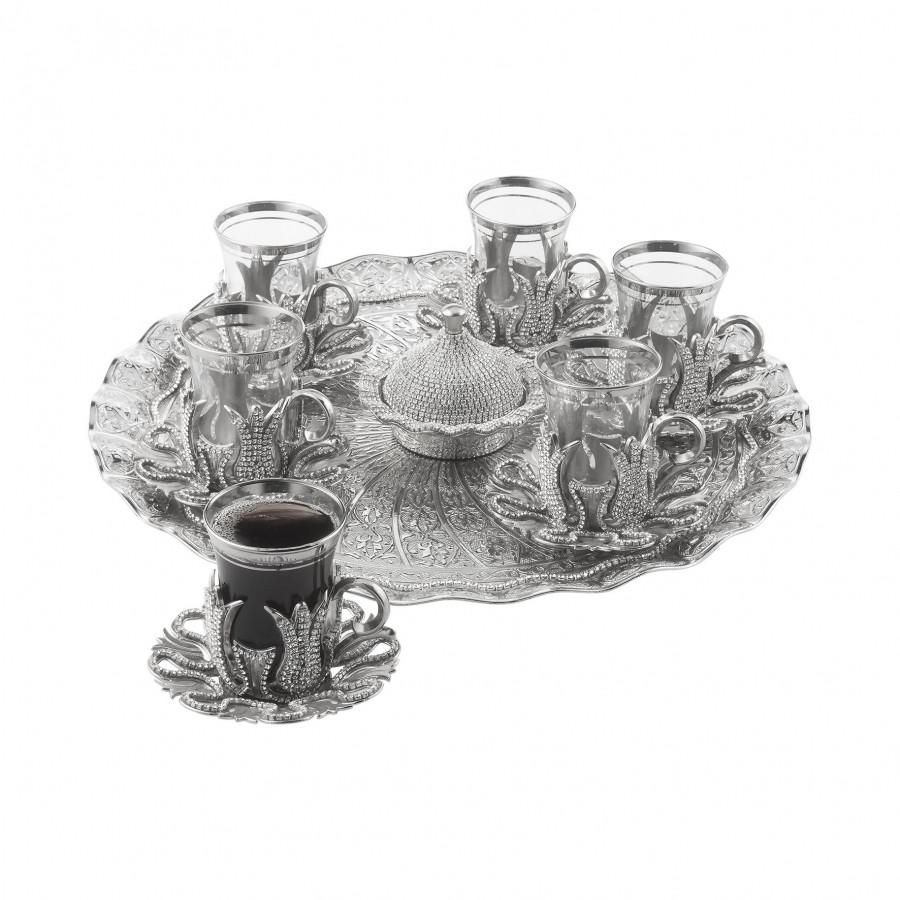 Набор чайных стаканов Sena Karizma серебристый со стразами на 6 персон