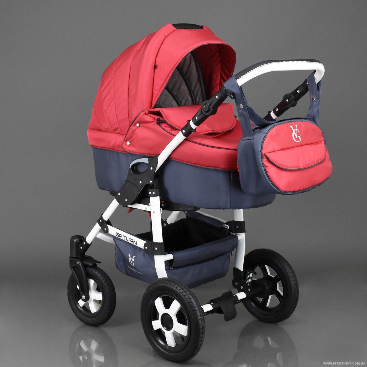Детская коляска 2 в 1 Viki Saturn Victoria Gold красная с серым