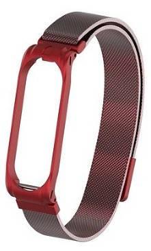 Металлический ремешок для Xiaomi Mi Band 4 мелкое звено metall red, фото 2