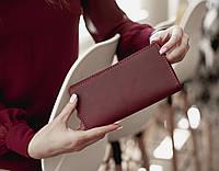 Большой вместительные кожаный кошелек клатч VINSENT_марсала, подарок жене, жіночий гаманець зі шкіри