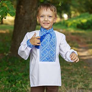 Вышиванка Престиж с синей вышивкой Матвійко