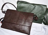 Женские клатчи-конверты через плечо с клапаном на 3 отдела 27*20 см (зеленый и каштан)