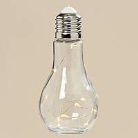 Светодиодная лампа ночник Колба прозрачное стекло h19d9см 3436600
