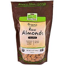 """Необработанный миндаль NOW Foods, Real Food """"Organic Raw Almonds"""" не соленый (340 г)"""